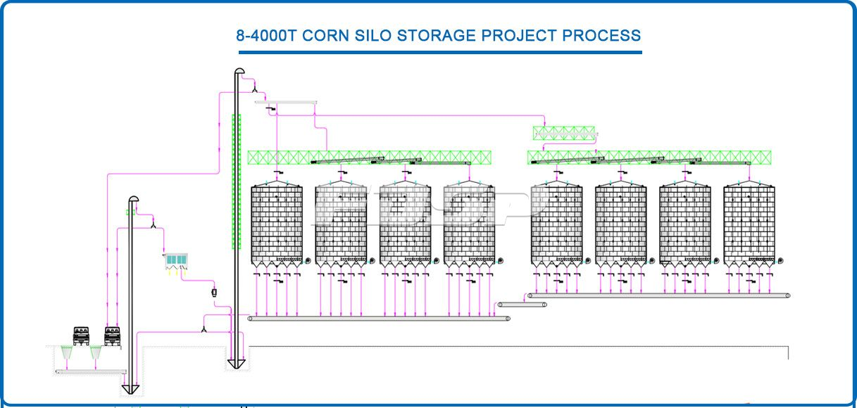 8-4000T Corn Silo Storage Project in Grain Industry